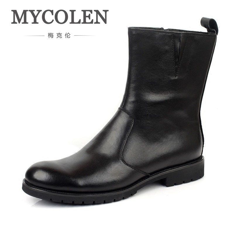 MYCOLEN Luxury Brand Ankle Boots Genuine Leather Men Shoes Lace Up British Stylish Dress Boots Men Zipper Martin Booties