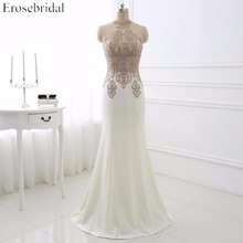 Hot Sale Sexy Applique Sweep Train Long Prom Dress Elegant Sleeveless Halter Formal Party Gown YY008