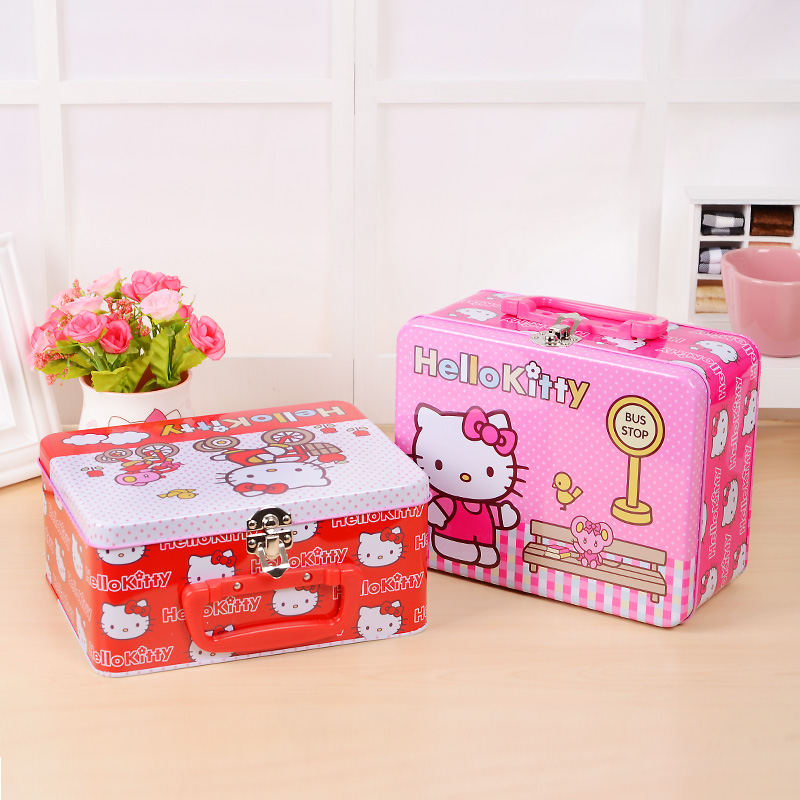 Boutique Hello Kitty Iron Tin Gift Box Large Candy Box Jewelry Box Storage Makeup Organizer Organizador