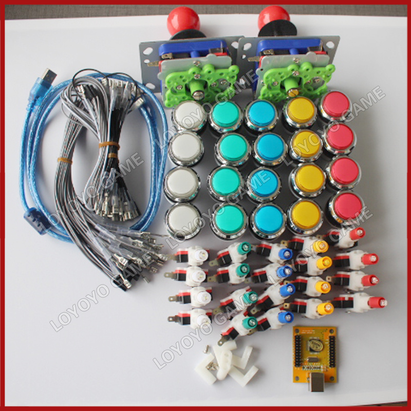 Arcade mame DIY KIT FOR 2 players PC PS/3 2 IN 1 to arcade joystck interface USB 2 player MAME Interface USB to Jamma Mame