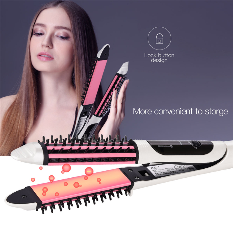 2-in-1 Tourmaline Ceramic Straightening Iron Curler Electric Hair Straightener Professional Hair Styling Tool <font><b>360</b></font> Swivel Cord 31 image