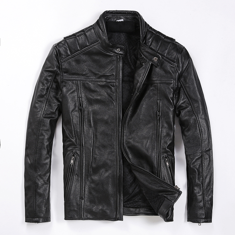 Free Shipping.Brand New Mens Cowhide Coat,man Genuine Leather Jacket,fashion Slim Cool Motor Biker Jackets.quality.plus Size
