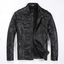 จัดส่งฟรี. ยี่ห้อใหม่ mens cowhide coat, man เสื้อหนังแท้, แฟชั่น slim cool motor biker แจ็คเก็ตคุณภาพ. plus ขนาด