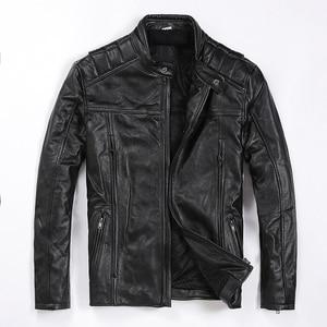 Image 1 - משלוח חינם. מותג חדש mens עור פרה מעיל, גבר אמיתי עור מעיל, אופנה slim מגניב מנוע biker מעילים. איכות. בתוספת גודל