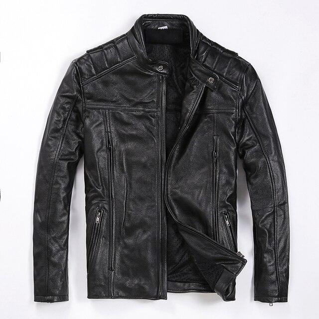 משלוח חינם. מותג חדש mens עור פרה מעיל, גבר אמיתי עור מעיל, אופנה slim מגניב מנוע biker מעילים. איכות. בתוספת גודל
