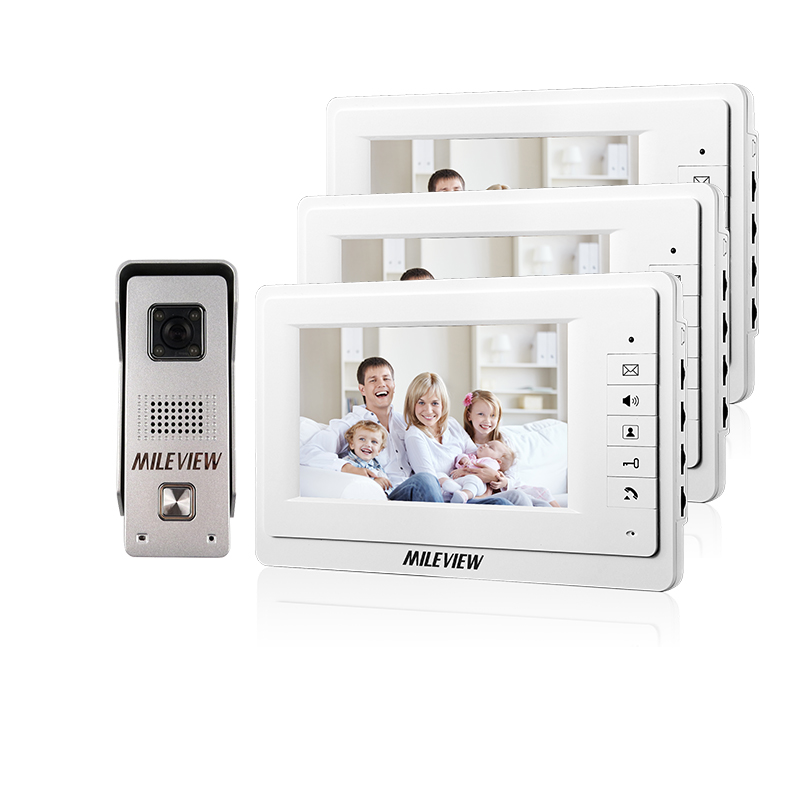 MILEVIEW New Wired 7 inch Video Intercom Home Door Phone System 3 Monitors 1 Waterproof Doorbell Camera In Stock FREE SHIPPING