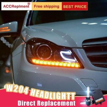 2Pcs LED Headlights For Benz W204 2011-2013 led car lights Angel eyes xenon HID KIT Fog lights LED Daytime Running Lights