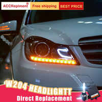 2Pcs LED Scheinwerfer Für Benz W204 2011-2013 led auto lichter Engel augen xenon HID KIT Nebel lichter LED Tagfahrlicht