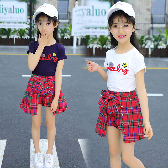 Girl Set Clothing Children Summer Kids Clothing Sets Smiley Face T Shirt+red Grid Pants Cotton Girls Clothes 10 12 Years Outfits