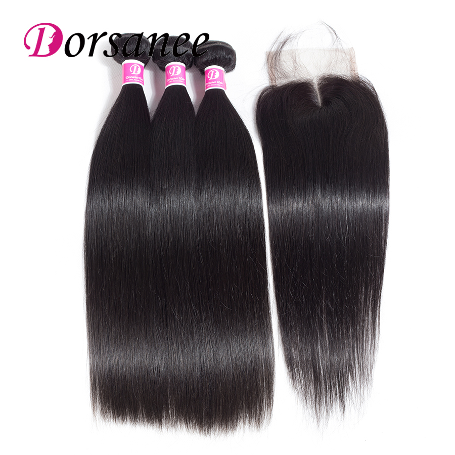 Dorsanee Indian Straight Hair Human Hair Bundles with Closure 3 Bundles With Closure Natural Color Non Remy Hair Extension