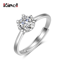 Kinel Luxury 925 Sterling Silver Fine Jewelry Classic 1ct Wedding Ring For Women Engagement Birthday White Zircon Bridal Gift