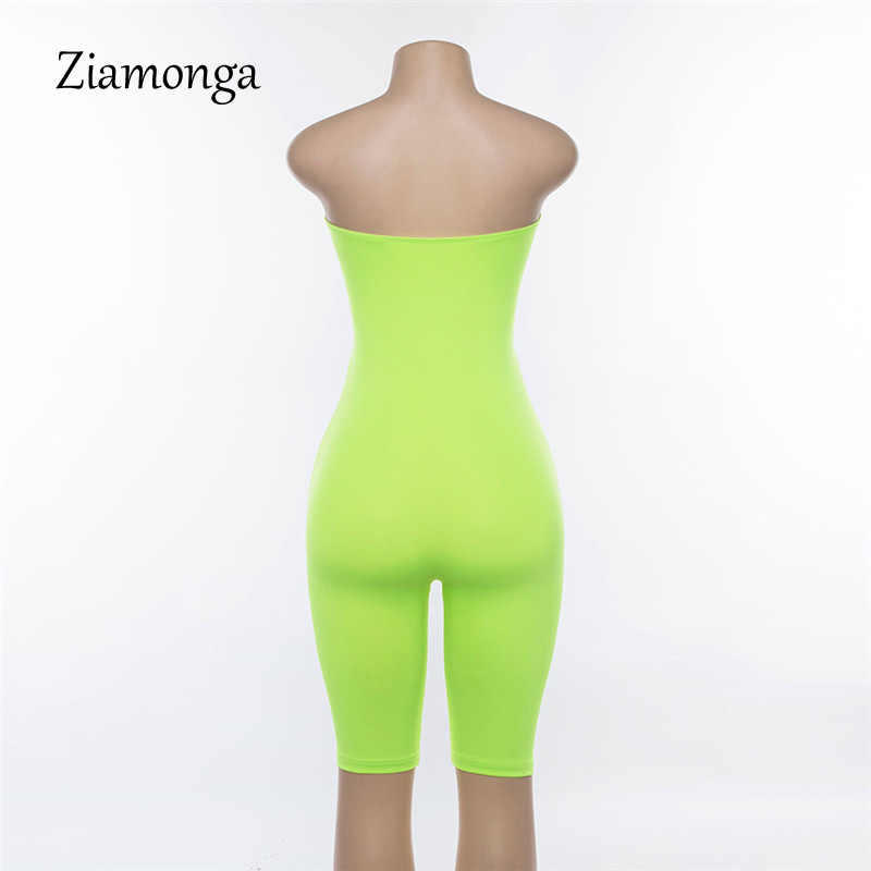 649b6c0671b ... Ziamonga One Piece Strapless Bodycon Jumpsuit Biker Shorts Sexy Outfits  For Woman Romper Streetwear SKinny Playsuits