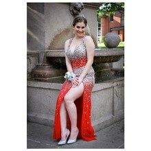 2016 Sexy Split Side V-ausschnitt Hohlkreuz Red prom Kleid Mit Luxury Wulstige Lange Chiffon Abendkleid Benutzerdefinierte Homecoming Kleider