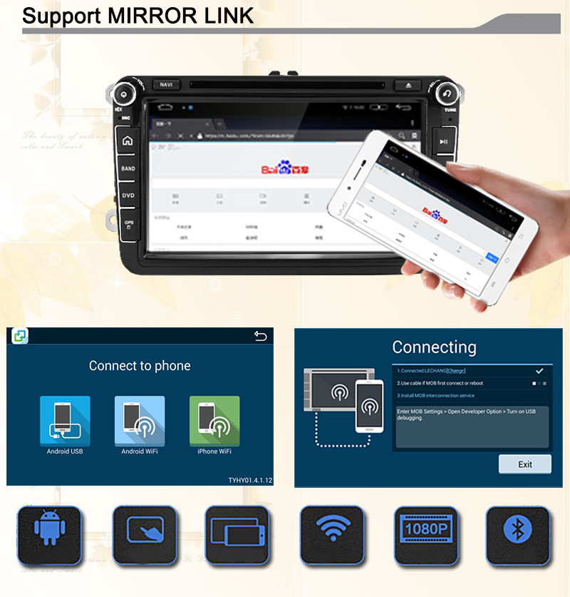 Android 5.1 Quad core RK3188 1024X600 screen 2 DIN Car DVD GPS Radio stereo For VW Golf Tiguan Skoda Fabia Rapid Seat Leon Altea mirror link