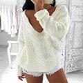 Прочный 2016 ГОРЯЧЕЙ Вязание шерстяные Свитера Женщин С Длинным Рукавом V Шеи Топ Пуловеры Свободные Jumper Трикотаж Пиджаки