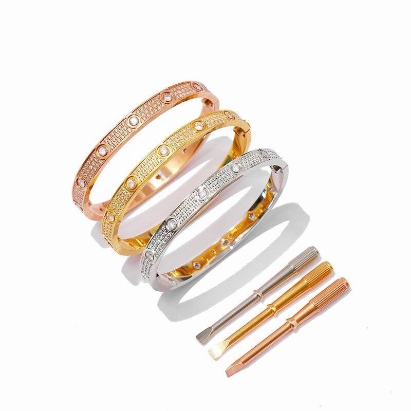 Bracelets à vis en acier titane Micro pavé de cristal Bracelets d'amour Bracelets hommes femmes Bracelet AAA Zircon cubique