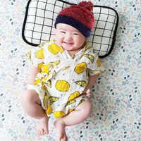 Seartist japanse coreano quimono do bebê meninas meninos verão corpo terno recém-nascidos quimono fruta floral impressão infantil macacão recém-nascido 30c