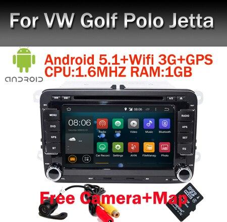 Caméra gratuite Quad core ANDROID 5.1 voiture DVD pour VW Golf mk6 5 Polo Jetta Tiguan passat b6 B5 siège cc miroir lien OBD