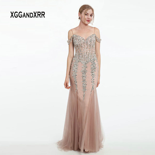 Luxury Dusty Pink Long Evening Dress 2019 Mermaid Prom Party Gown Tulle Dress Beading Sequins Sexy Illusion Back robe de soiree