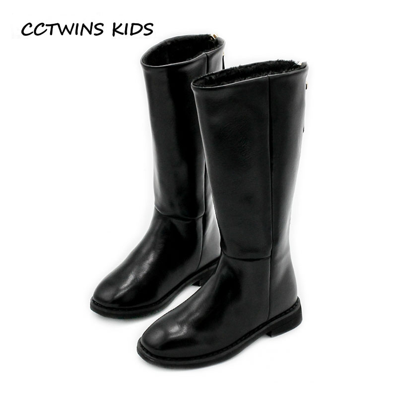 CCTWINS KIDS 2018 Winter Baby Fashion Knee High Boot Children Pu Leather Warm Boot Toddler Fashion Black Shoe Girl H046 cctwins kids 2018 winter children brand black knee high boot baby pu leather flat girl fashion warm shoe toddler h057