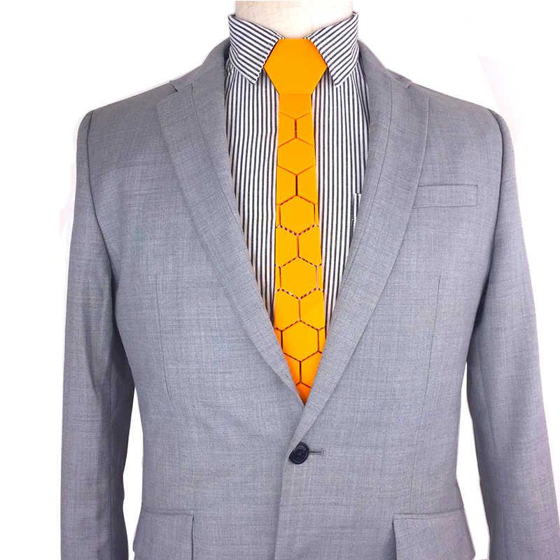 Ручной работы Яркий желтый шестиугольный стиль мужской стильный галстук для