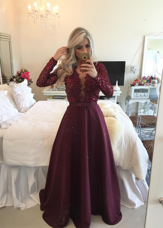 Vestidos longos de festa Burgundy Muslim Elegant Long Sleeve Evening Dresses  For Party Lace Prom Gowns Pearls Summer bd06870d3fe1