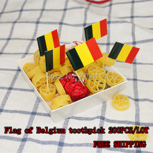 freeshipping200pcs/lot Flag of Belgium toothpick Fried Chicken Fruit Cupcake Decorating Toothpick