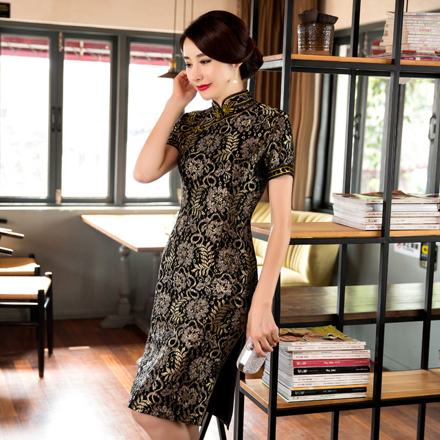 Free Shipping New Sale Lace Qipao Chinese Women's Clothing Cheong-sam Dress Blend Cotton Qipao For Women 3 Color