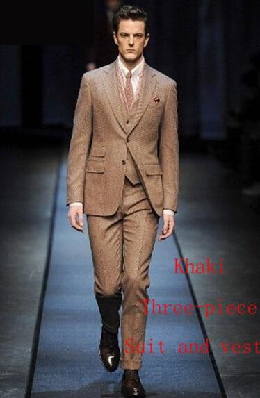 Brand slim fit A style formal 3 pieces suit khaki wedding clothes ...
