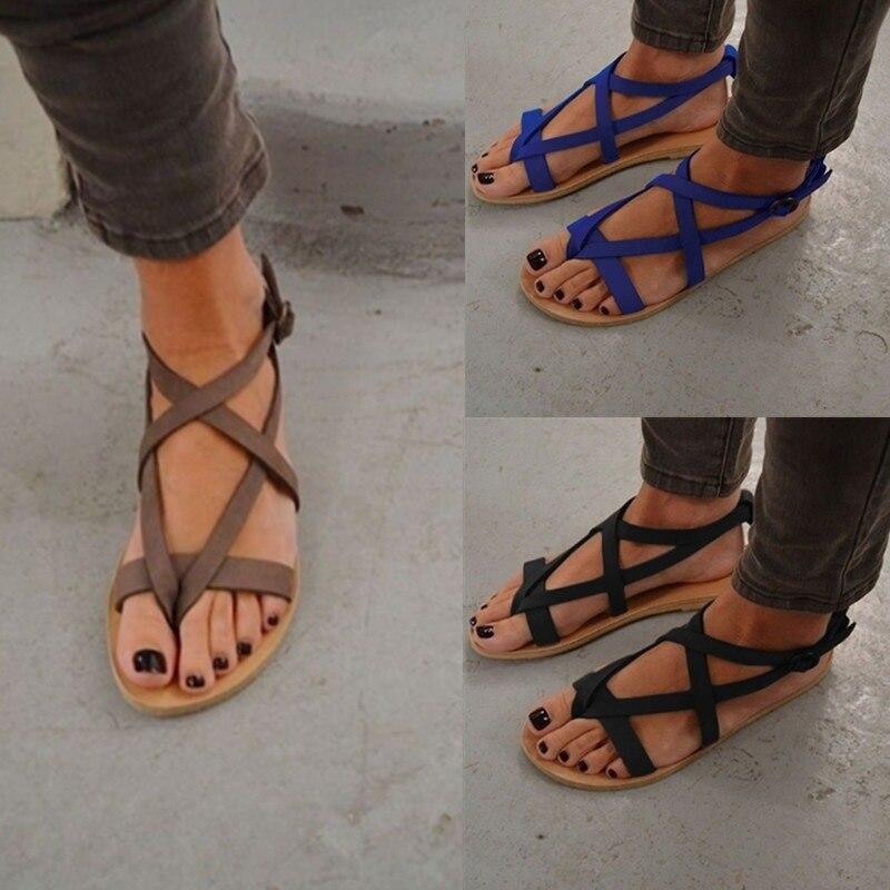 Mujer Huecas Planas Punta Bandage De Shapin Romanas Planos Zapatos Talla Sandalias Grande Tejida Para hrdtQBCsx