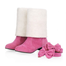 4สี4สวมใส่สไตล์ต่ำส้นบางเข่ารองเท้าสูง ผู้หญิงรองเท้าฤดูหนาวด้วยBowiteสั้นรองเท้าหิมะนิ่มขาสูง รองเท้า