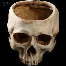 BUF Resin Craft Statues For Decoration Skull Head Creative Skeleton Figurines Sculpture Halloween Photo Props