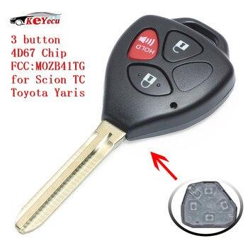 KEYECU 3 زر جديد السيارة عن بعد مفتاح 312 MHz 4D67 رقاقة فوب صالح ل TC المطعوم 2005-2010 ، تويوتا ياريس 2007-2010 FCC ID: MOZB41TG