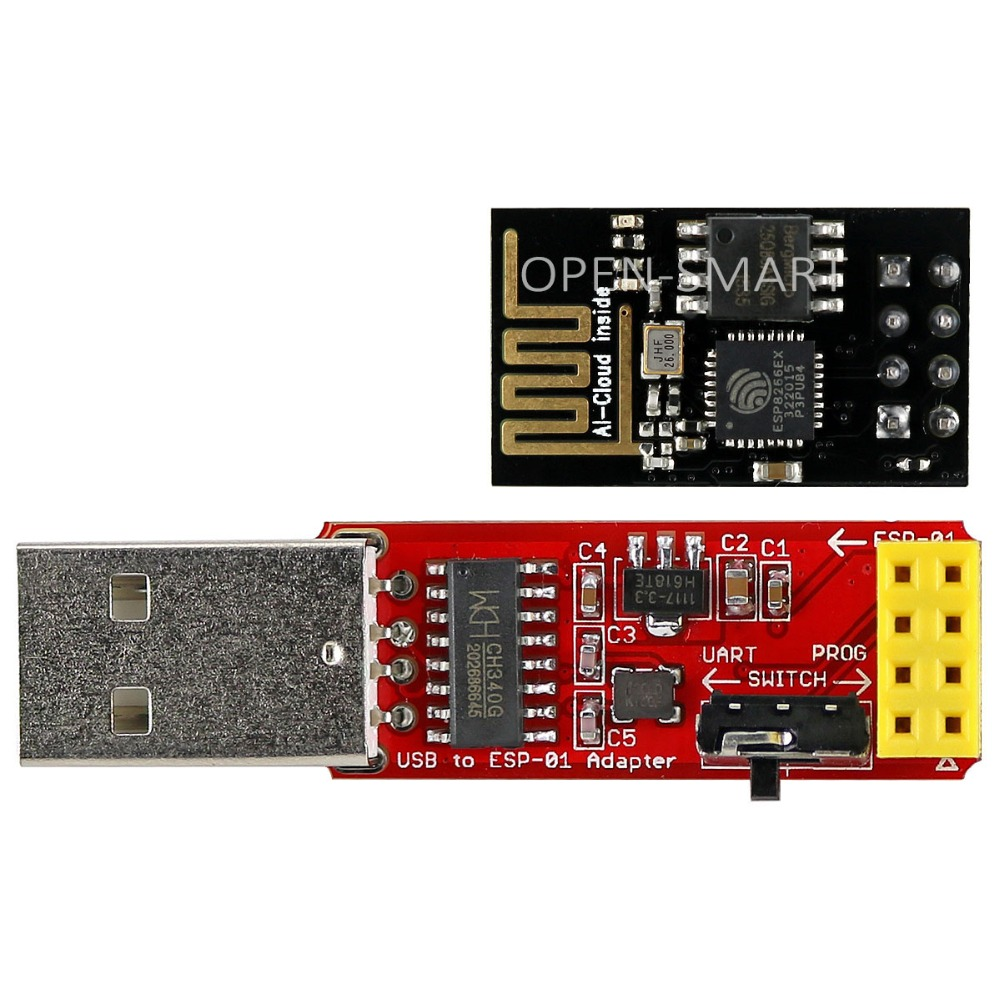 ESP8266 Wi-Fi Transceiver Module + USB to ESP-01 Adapter Serial Wireless Adapter Debugging Firmware Programming for Arduino ft232rl xbee usb to serial adapter v1 2 board module for arduino