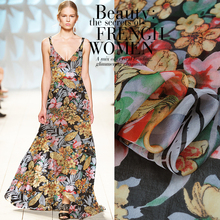 10Meters/Lot Flower Printed Silk Chiffon Fabric Nature Material Sew Women Dress Scarf 6MM Clothing Garment Textile