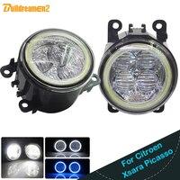 Buildreamen2 2 X Car H11 LED Light Fog Light Angel Eye DRL Daytime Running Light 12V For Citroen Xsara Picasso MPV N68 1999 2015
