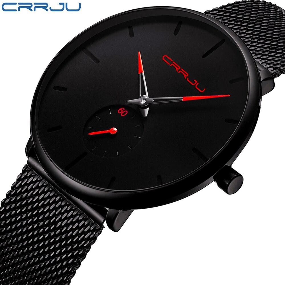Crrju reloj de las mujeres y los hombres reloj superior de la marca de lujo de famoso vestido Relojes de moda Unisex Ultra delgado reloj de pulsera Relojes Para Hombre