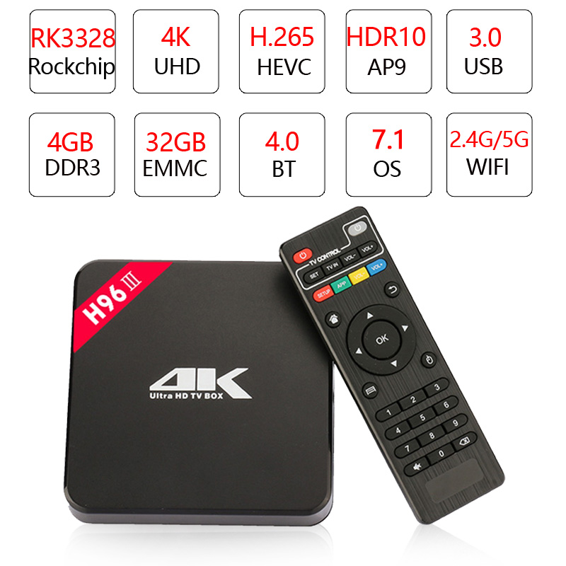 H96 III Android 7 1 TV Box Rockchip RK3328 Quad Core 4 GB RAM DDR3 32 GB Smart TV Box 2 4G 5GHz WiFi 4 K H 265 Set Top Box pk T9 in Set top Boxes from Consumer Electronics