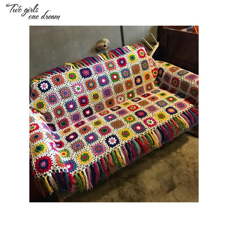 DIY Handmade Crocheted Flower Tablecloth Mats Fashion Carpet Crochet Blanket Bed or Sofa Cover Cushion Crochet Table Mat 90x200c-in Blankets from Home & Garden    1