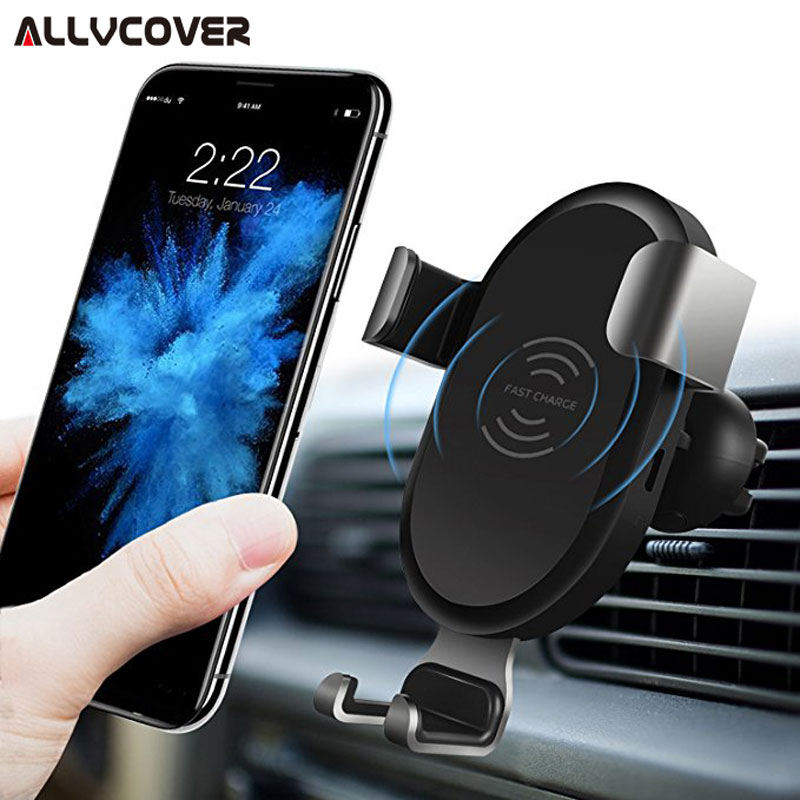 Allvcover Car Mount Qi Wireless Charger For iPhone X/8/7 Plus QC 3.0 Fast Wireless Charging For Samsung Galaxy S9/S9+ S8 Note 8