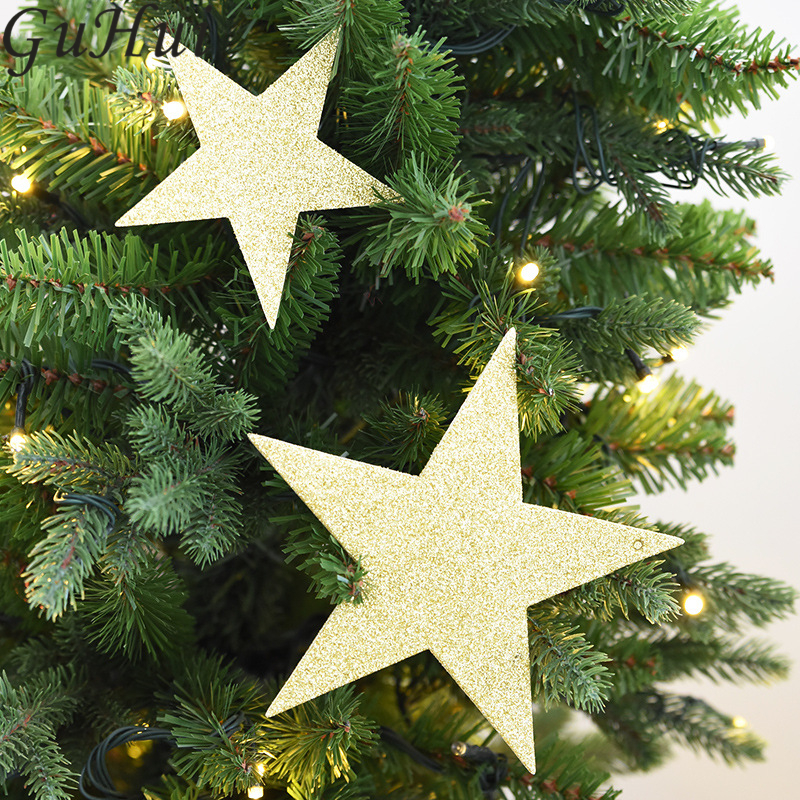 Us 4 9 20 Off Gold Red Silver Glittering Five Pointed Star Christmas Tree Ornament Pendant New Year Wedding Birthday Party Home Pub Decoration In