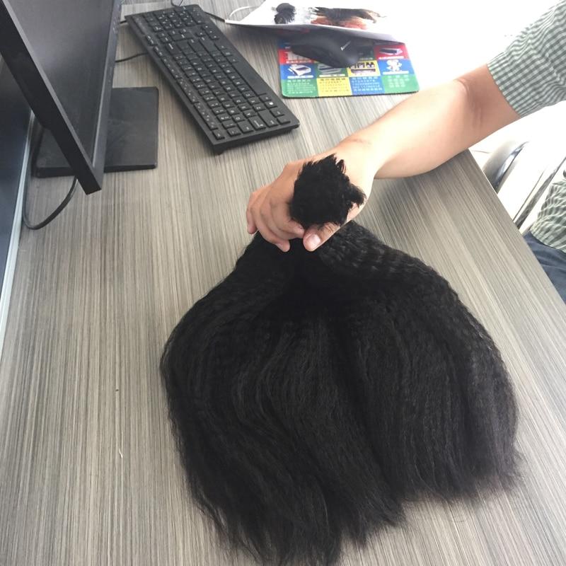 Brazilian Virgin Human Hair Bulk For Braiding Italian Coarse Yaki Kinky Straight Crochet Hair Extensions No Weft No Attachment