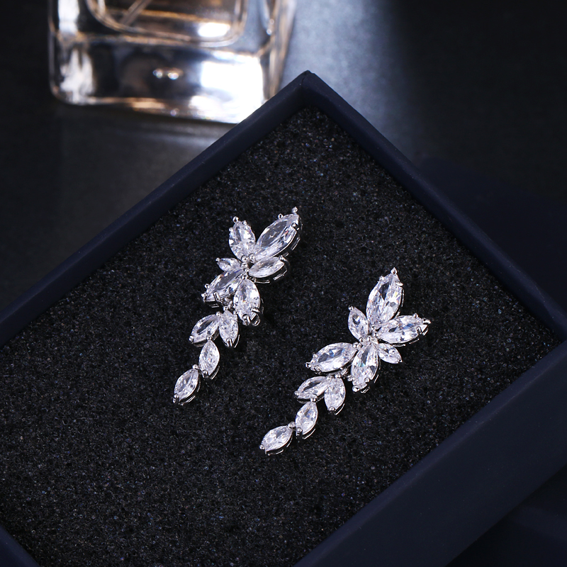 LXOEN Marquise Cut Flower Zirconia Crystal Long Drop Earrings for Women Shiny Leaf CZ Stone Bridal Wedding Jewelry 11