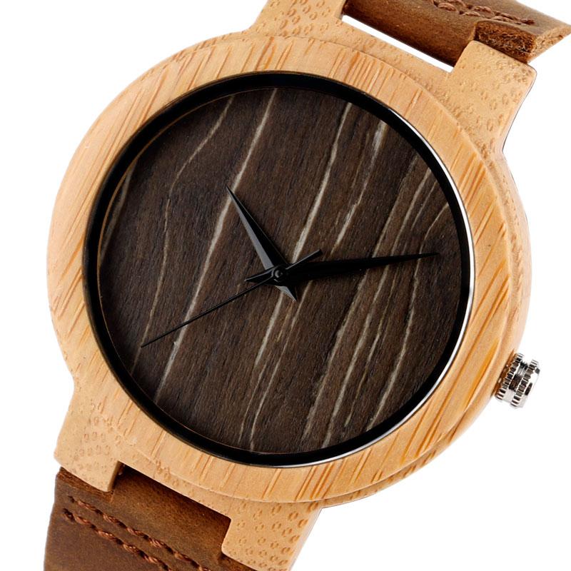 Bamboo loominguline puidust kella nahast bänd rihma kaasaegne kvarts - Meeste käekellad - Foto 6