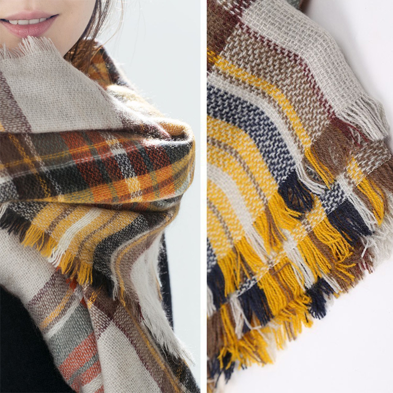 Winter Women Plaid Scarves Large font b Tartan b font Scarf Pashmina Warp Shawl Acrylic Black