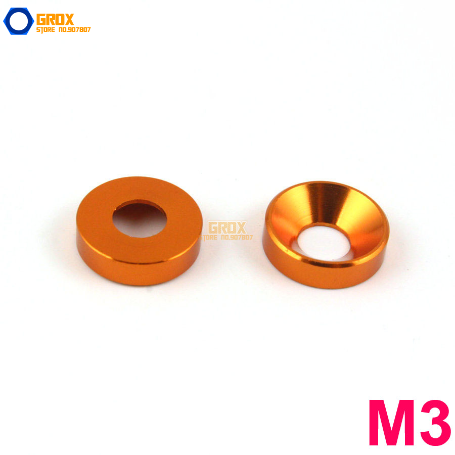 30 Pieces M3 Orange Aluminum Washer Countersunk Flat Head Screw Washer image