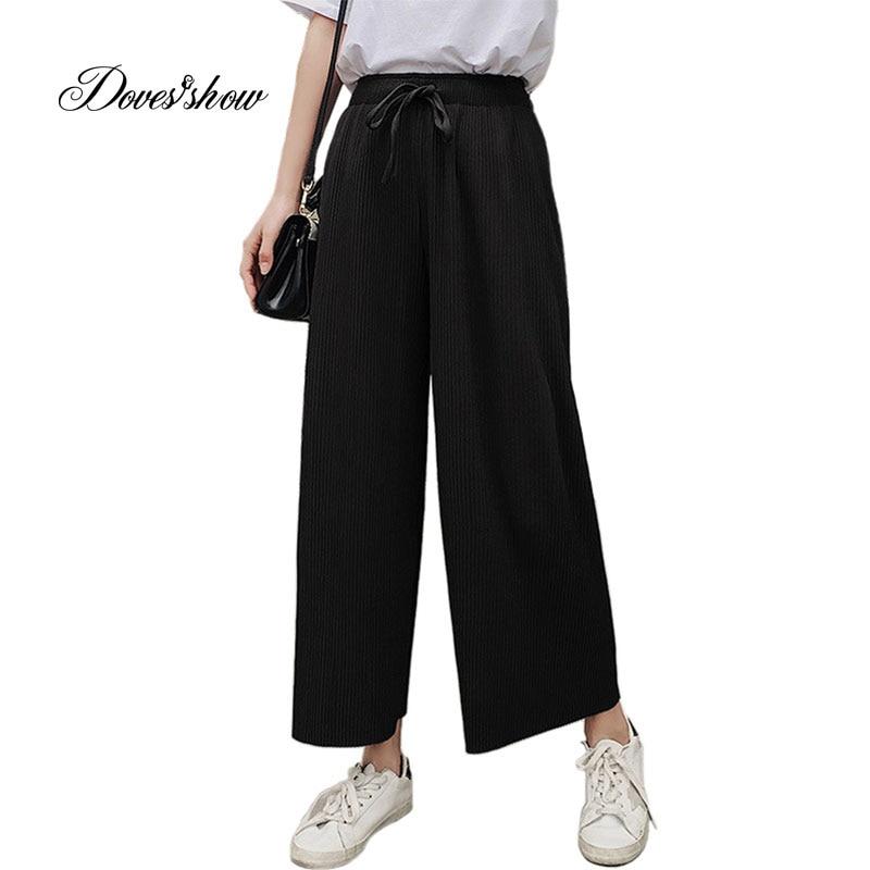 Stretch Slim Elastic Split Stitching Chiffon   Wide     Leg     Pants   Leggings Ankle length Plus size Trousers for women Pantalon Femme
