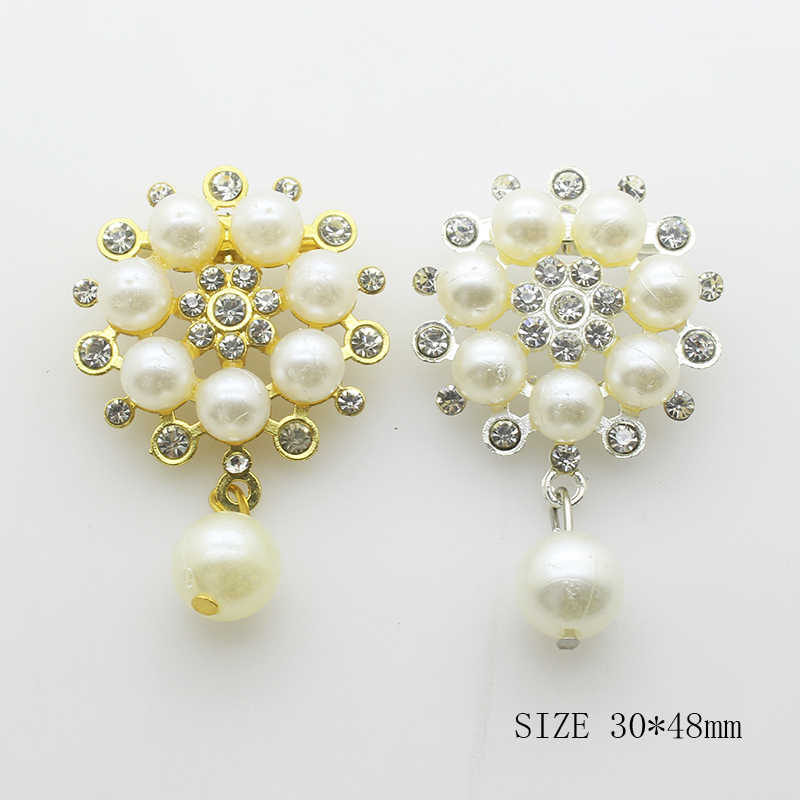 YWXINXI Sale Prices Rhinestones Brooches 1PCS Women Clothing Jewelry Decoration Two Color Pearl Brooch Handwork Accessories