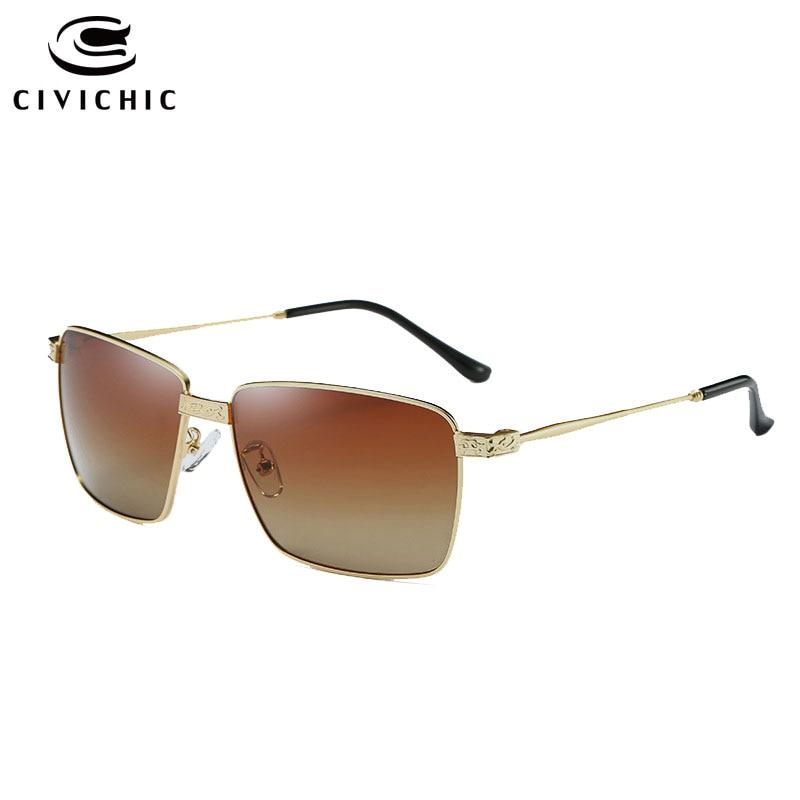 CIVICHIC Chaude Mode Hommes Polarisées lunettes de Soleil Classique Lunettes Métal Cadre Lunettes De Pêche HD Lunettes Conduite Oculos De Sol E215