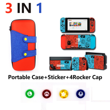 4 in 1 for Nintend Switch NS Console Carrying Storage Bag Protector+Anti-scratch Dustproof Transparent Crystal Shell+ Skin